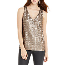 Buy Oasis Sequin High Back Vest, Gold Online at johnlewis.com
