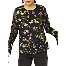 Buy Warehouse Floral Bird Print Blouse, Black/Multi Online at johnlewis.com