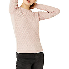 Buy Warehouse Sparkle Scallop Stitch Jumper, Light Pink Online at johnlewis.com