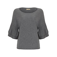 Buy Phase Eight Damia Double Frill Sleeve Knit Top, Grey Online at johnlewis.com