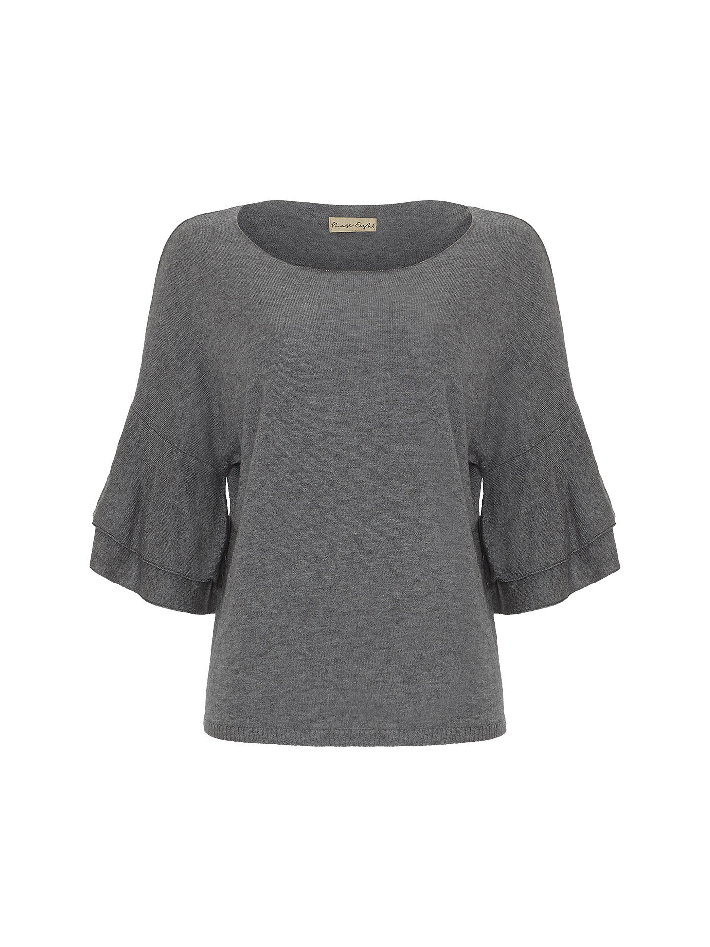 BuyPhase Eight Damia Double Frill Sleeve Knit Top, Grey, XS Online at johnlewis.com