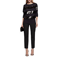 Buy Reiss Jude Sequin Stripe Jumper, Black Online at johnlewis.com