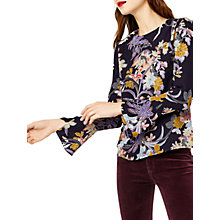 Buy Warehouse Orchid Flared Cuff Top, Navy Online at johnlewis.com