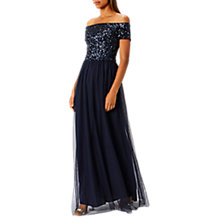 Buy Coast Jay Bardot Prom Maxi Dress, Navy Online at johnlewis.com