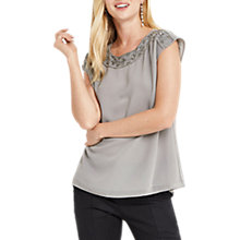 Buy Oasis Embellished Neck Top, Mid Grey Online at johnlewis.com