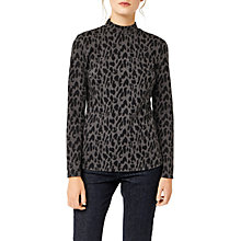 Buy Warehouse Leopard Jacquard Polo Top, Grey Online at johnlewis.com