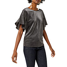 Buy Warehouse Metallic Frill Sleeve Top, Silver Online at johnlewis.com