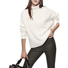 Buy Reiss Fraya Rib Roll Neck Wool Blend Jumper, White Online at johnlewis.com