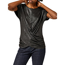 Buy Warehouse Metallic Lame Knot Front Top Online at johnlewis.com