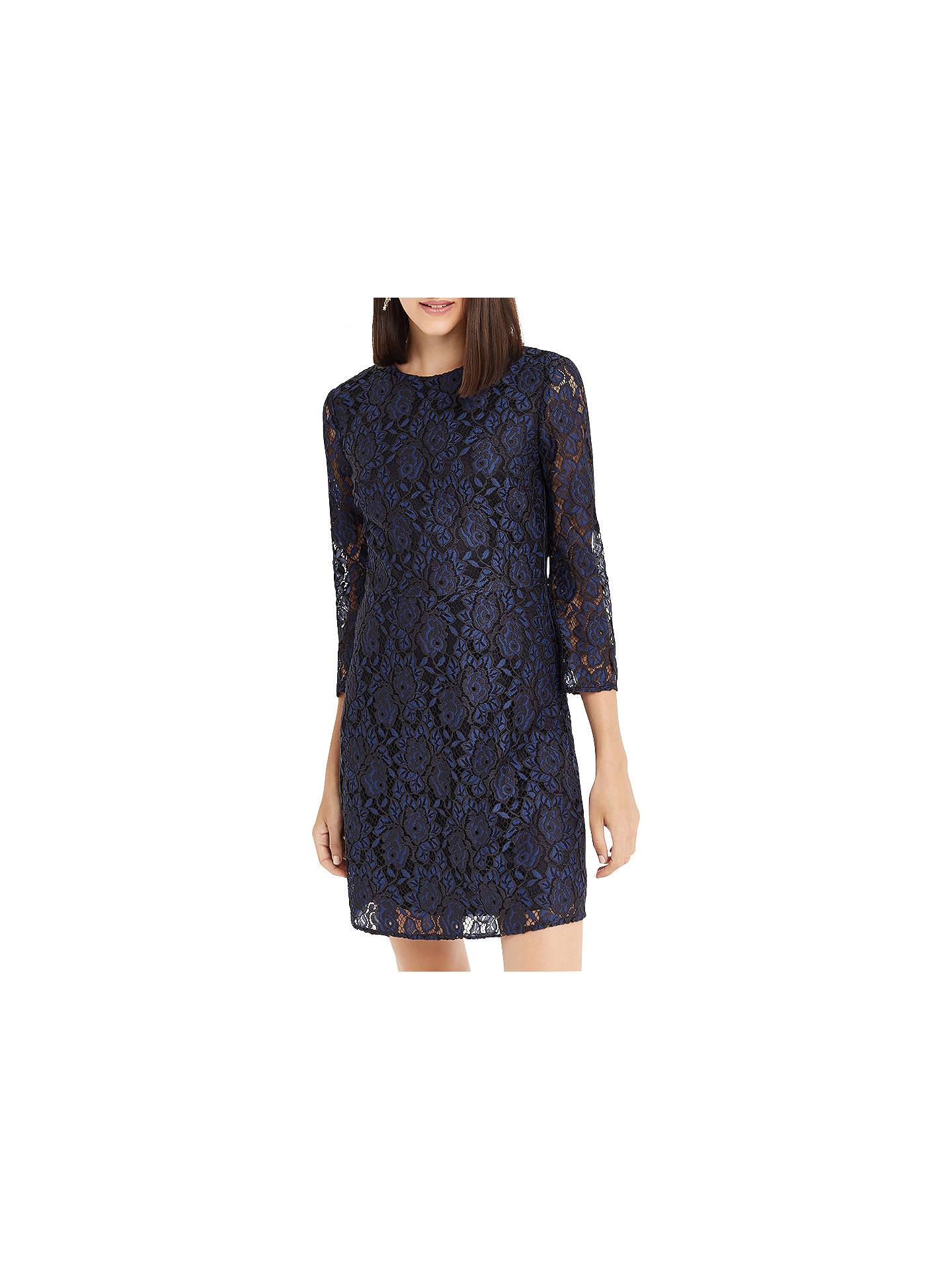 57e5bc684362 Buy Oasis NTU Two Tone Lace Shift Dress, Blue, 6 Online at johnlewis.