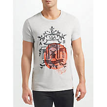 Buy Scotch & Soda Embroidered Graphic Print T-Shirt, Grey Online at johnlewis.com