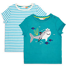 Buy John Lewis Baby Stripe and Shark T-Shirt, Pack of 2, Blue Online at johnlewis.com