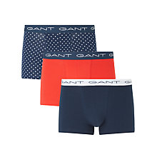 Buy Gant Mini Star and Plain Trunks, Pack of 3, Navy/Red Online at johnlewis.com
