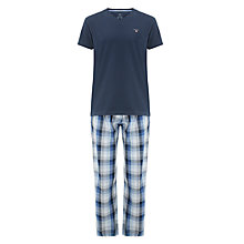 Buy GANT Flannel Check Pyjama Set, Blue Online at johnlewis.com