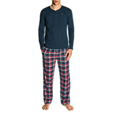 Buy GANT Flannel Check Pyjama Set, Navy/Red Online at johnlewis.com