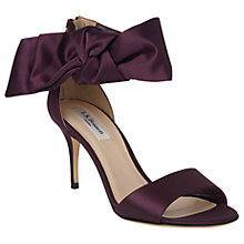 Buy L.K. Bennett Agata Bow Stiletto Heel Sandals, Purple Satin Online at johnlewis.com