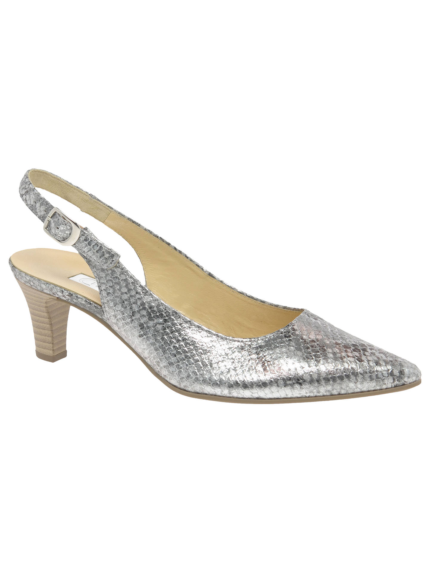 BuyGabor Hume 2 Slingback Court Shoes, Silver Leather, 3 Online at  johnlewis.com ... 74fd5bb277
