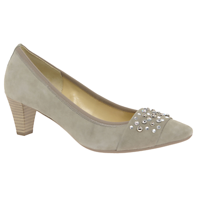 Gabor Guide Embellished Court Shoes, Grey Suede