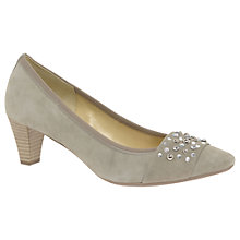 Buy Gabor Guide Embellished Court Shoes, Grey Suede Online at johnlewis.com
