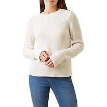 Buy Hobbs Charlie Ribbed Jumper, Cream Online at johnlewis.com