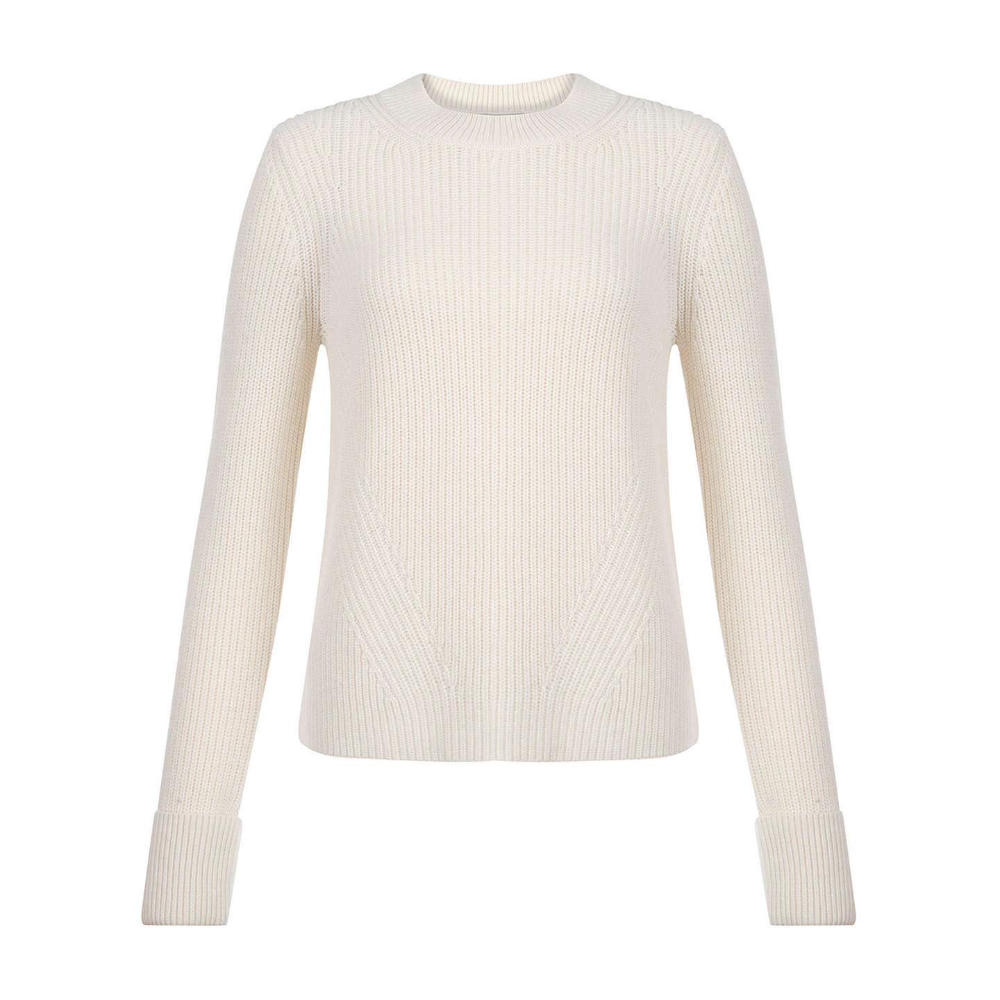 BuyHobbs Charlie Ribbed Jumper, Cream, XS Online at johnlewis.com