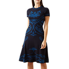 Buy Hobbs Eliza Pattern Merino Dress, Teal Online at johnlewis.com