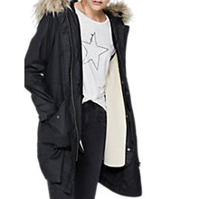 Buy Mint Velvet Knit Lined Waxed Parka, Dark Grey Online at johnlewis.com