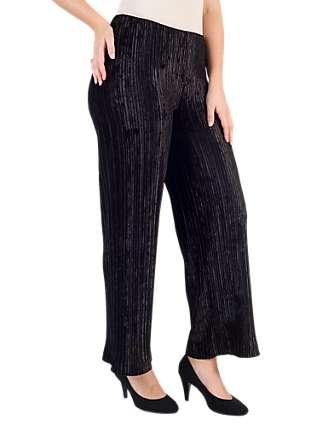 Chesca Pleated Velvet Trousers, Black