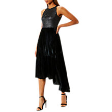 Buy Coast Delores Pleated Velvet Dress, Black Online at johnlewis.com