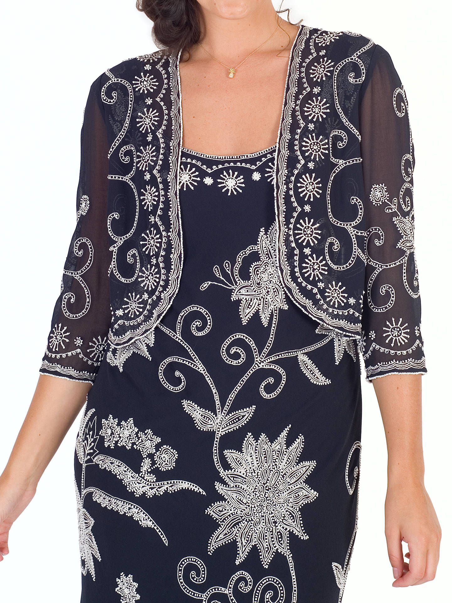 BuyChesca Embroidered Beaded Bolero, Navy/Ivory, 12 Online at johnlewis.com