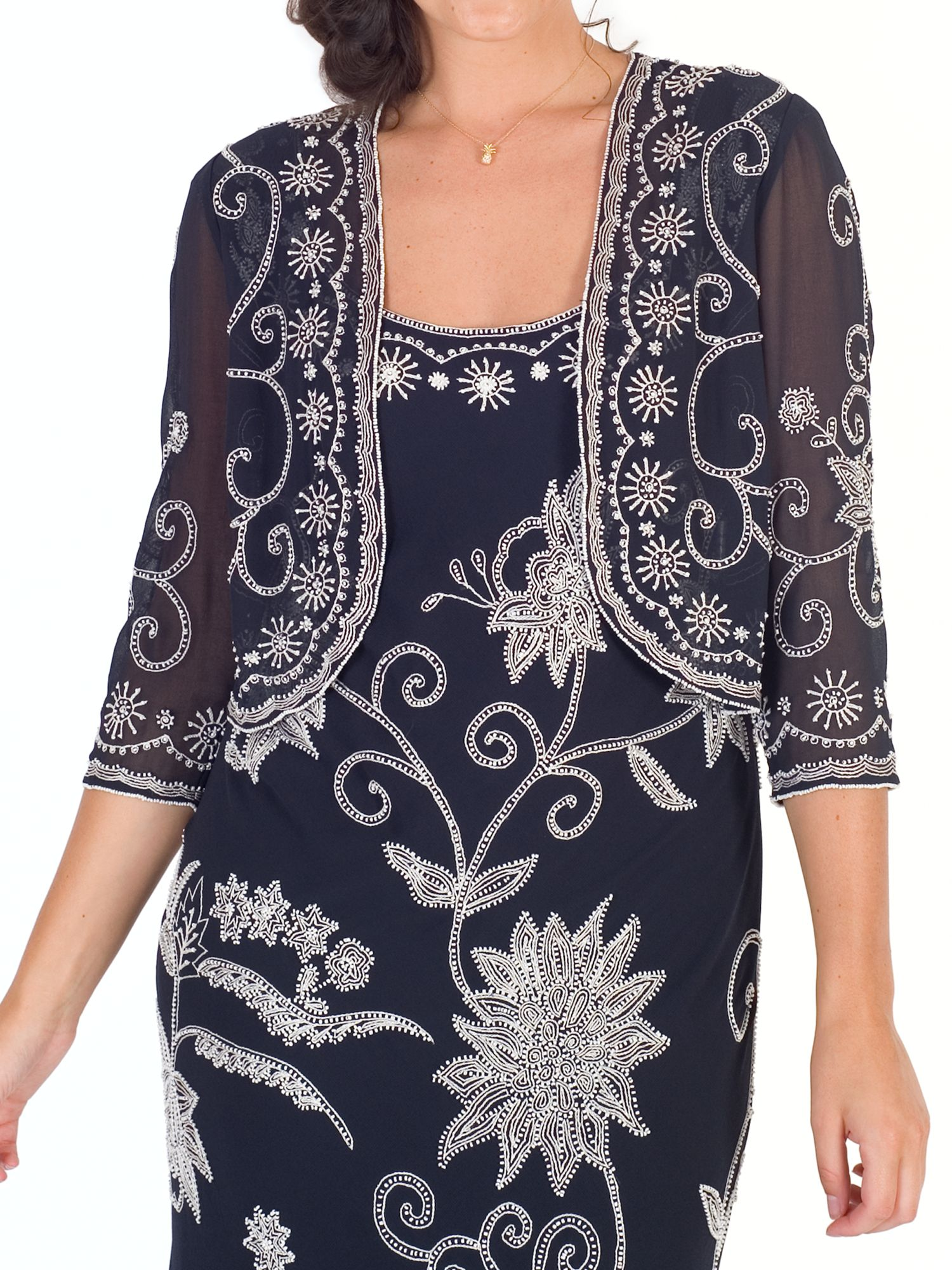 Chesca Chesca Embroidered Beaded Bolero, Navy/Ivory