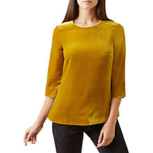 Buy Hobbs Agnes Velvet Top, Ochre Online at johnlewis.com