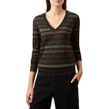 Buy Hobbs Susie Merino Blend Stripe Jumper, Grey Online at johnlewis.com