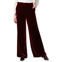 Buy Hobbs Elva Velvet Trousers, Red Online at johnlewis.com