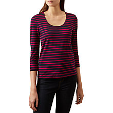 Buy Hobbs Striped Daisy Top, Navy/Hot Pink Online at johnlewis.com