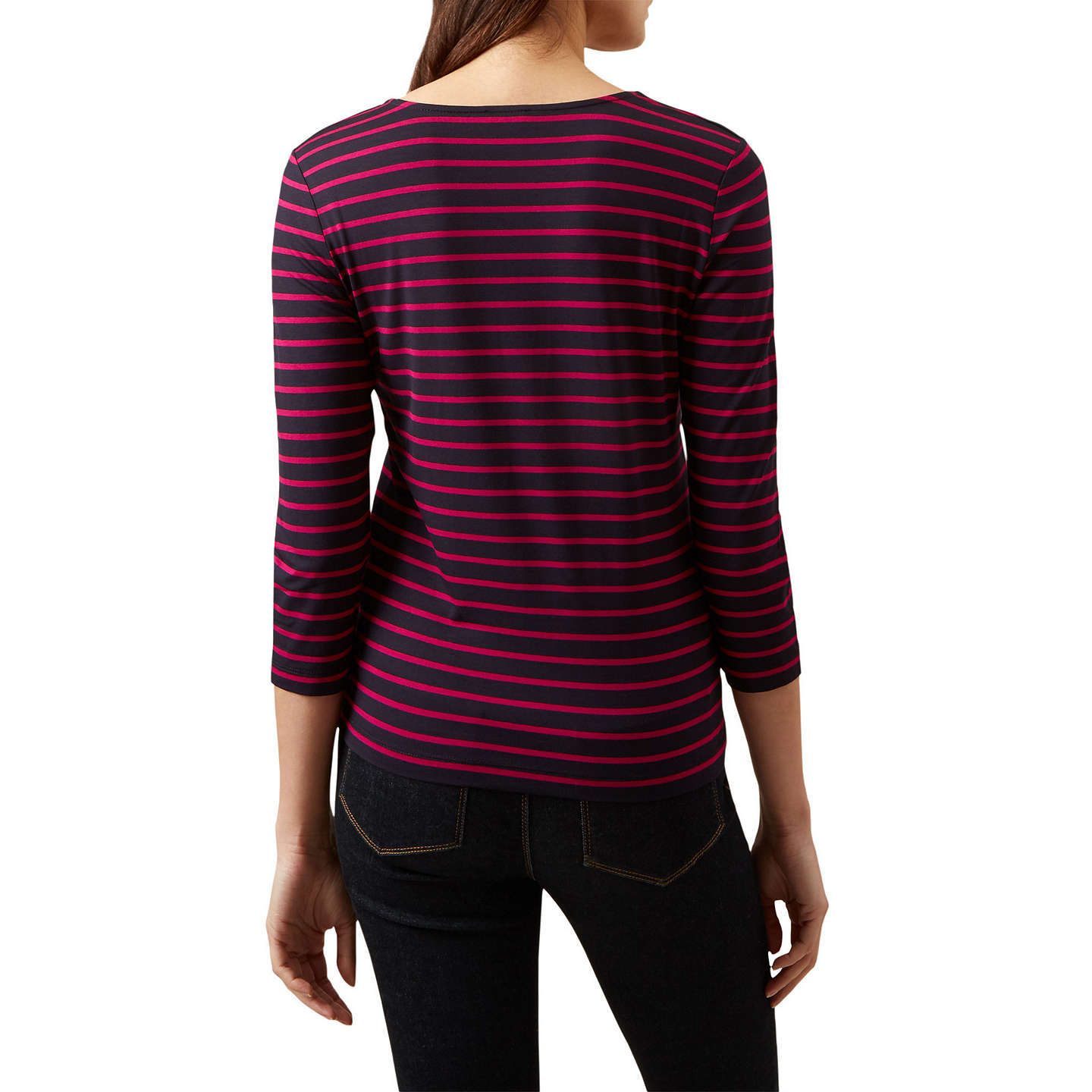 BuyHobbs Striped Daisy Top, Navy/Hot Pink, XS Online at johnlewis.com