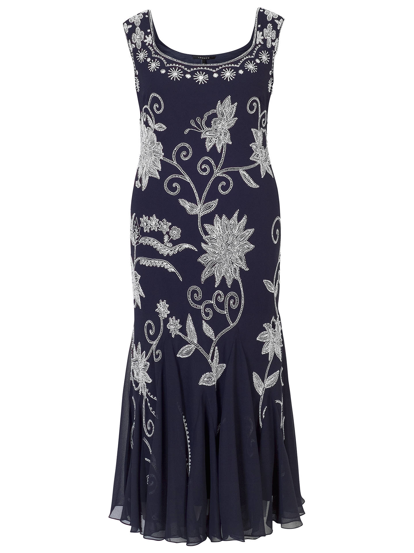BuyChesca Embroidered Beaded Dress, Navy/Ivory, 12 Online at johnlewis.com