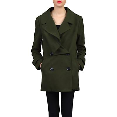 Jolie Moi Asymmetric Front Coat, Soldier Green