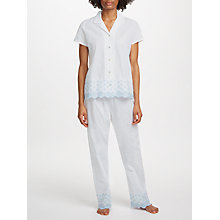 Buy John Lewis Circle Flower Embroidered Pyjama Set, White/Blue Online at johnlewis.com