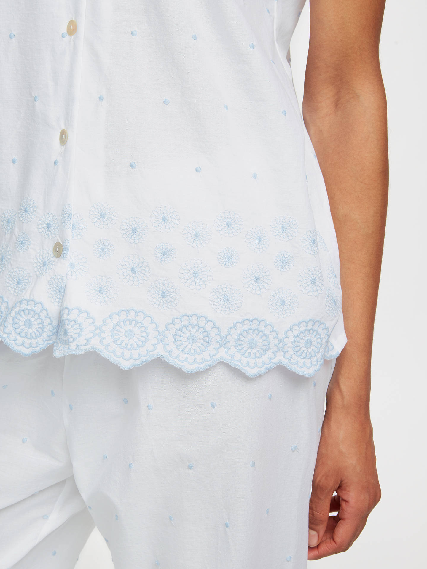 BuyJohn Lewis & Partners Circle Flower Embroidered Pyjama Set, White/Blue, 8 Online at johnlewis.com
