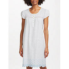 Buy John Lewis Circle Flower Embroidered Nightdress, White/Blue Online at johnlewis.com