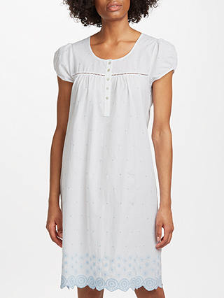 Buy John Lewis & Partners Circle Flower Embroidered Nightdress, White/Blue, 8 Online at johnlewis.com