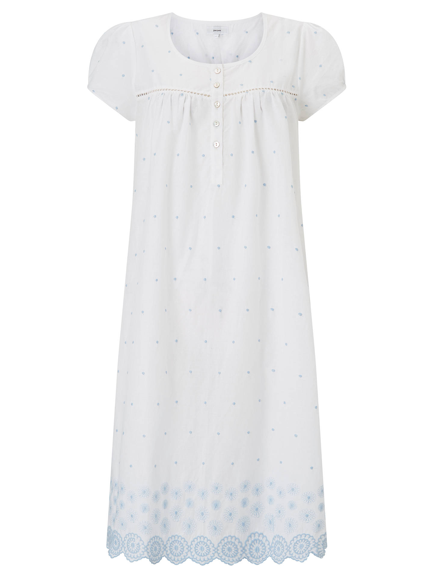 BuyJohn Lewis & Partners Circle Flower Embroidered Nightdress, White/Blue, 8 Online at johnlewis.com