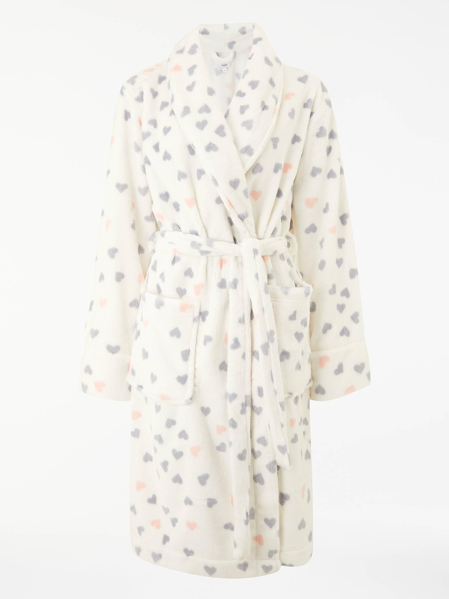 John Lewis & Partners Heart Print Fleece Dressing Gown, Ivory/Multi ...