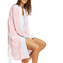 Buy Joules Jasmine Paisley Jersey Dressing Gown, Pink Online at johnlewis.com