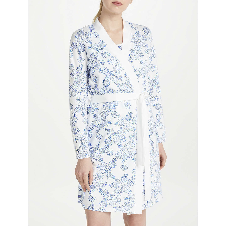 John Lewis Melissa Floral Print Cotton Jersey Dressing Gown, Blue ...