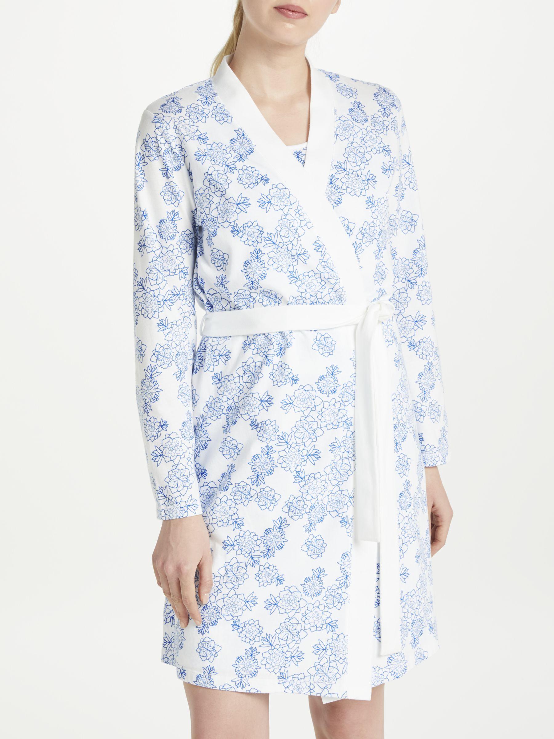 John Lewis Partners Melissa Floral Print Cotton Jersey Dressing Gown Blue White At John Lewis Partners