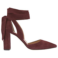 Buy Mint Velvet Emily Tie Block Heeled Court Shoes, Dark Red Suede Online at johnlewis.com