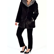 Buy Chesca Hooded Faux Fur Coat, Black/Silver Online at johnlewis.com