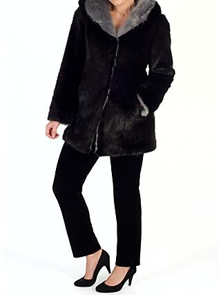 Chesca Hooded Faux Fur Coat, Black/Silver